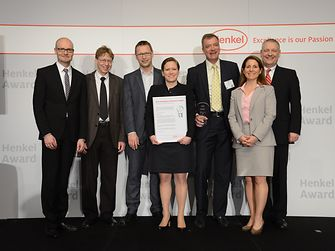 "Novozymes recognized for ""Best Innovation Contributor Laundry and Home Care 2012"". From left to right: Arndt Scheidgen, Henrik Meyer, Erik Gormsen, Pernille Lind Olsen, Per Falholt, Cynthia Bryant, Thomas Müller-Kirschbaum"