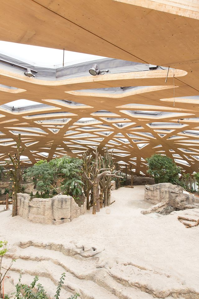 The canopy-like freestanding domed roof of the elephant house at Zurich Zoo in Switzerland