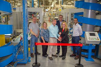 Leaders from the West Hazleton facility, and the Beauty Care leadership team, celebrate the opening of the line expansion for both Dial® body wash and Dial® liquid hand soap.