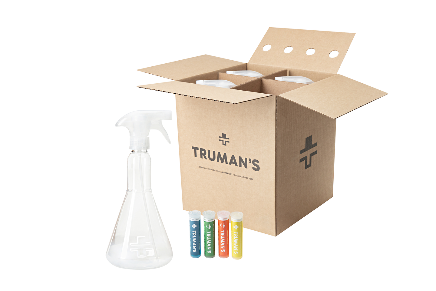 Truman's offers cleaners that utilize refillable bottles and concentrate cartridges to reduce plastic.